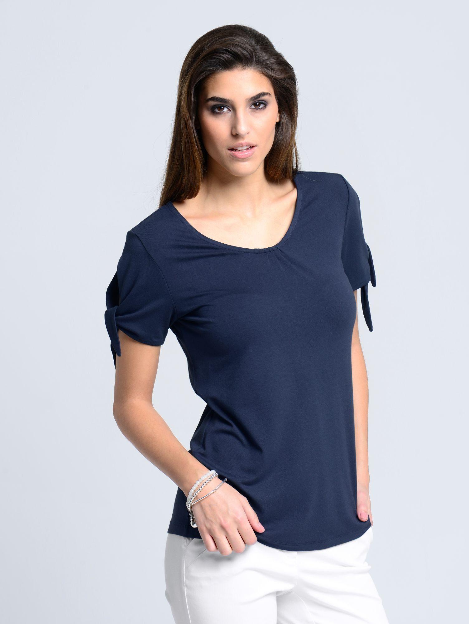 Alba Moda T Shirt mit modischen Details, V Ausschnitt mit Raffungen online kaufen | OTTO