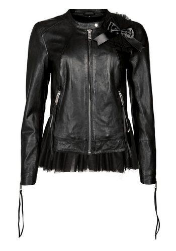 Damen MAZE Lederjacke mit gerafftem Schößchen Cavalina schwarz | 04051845867460