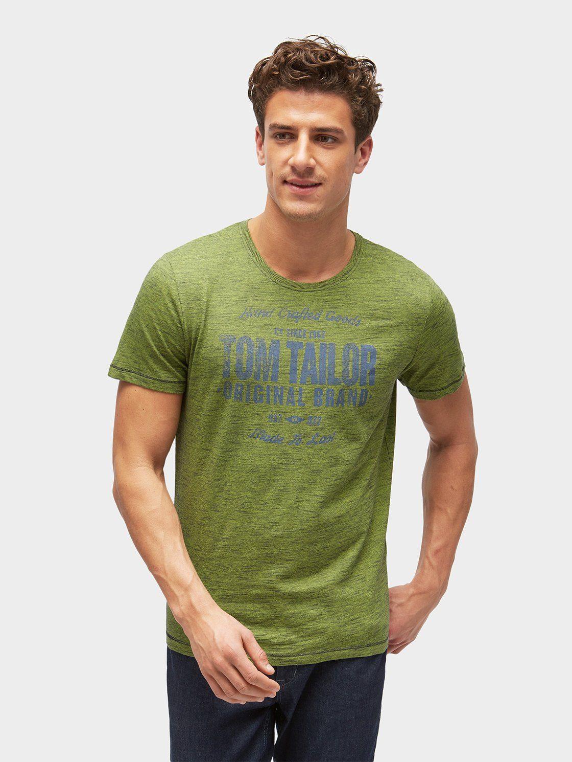 TOM TAILOR T-Shirt »Gestreiftes T-Shirt mit Logo-Print«