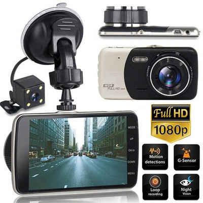 autolock »4 Zoll FHD Bildschirm Autokamera, 170 ° Weitwinkel G-Sensor Bewegungssensor Nachtsicht Autohalterung Dashboar Kamera, Parkmonitor Auto Dashcam mit Rückfahrkamera« 360°-Kamera