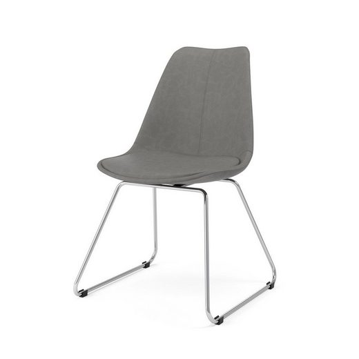 Kasper Wohndesign: Kasper-Wohndesign Stuhl Kunstleder Grau Metallkufe Versch