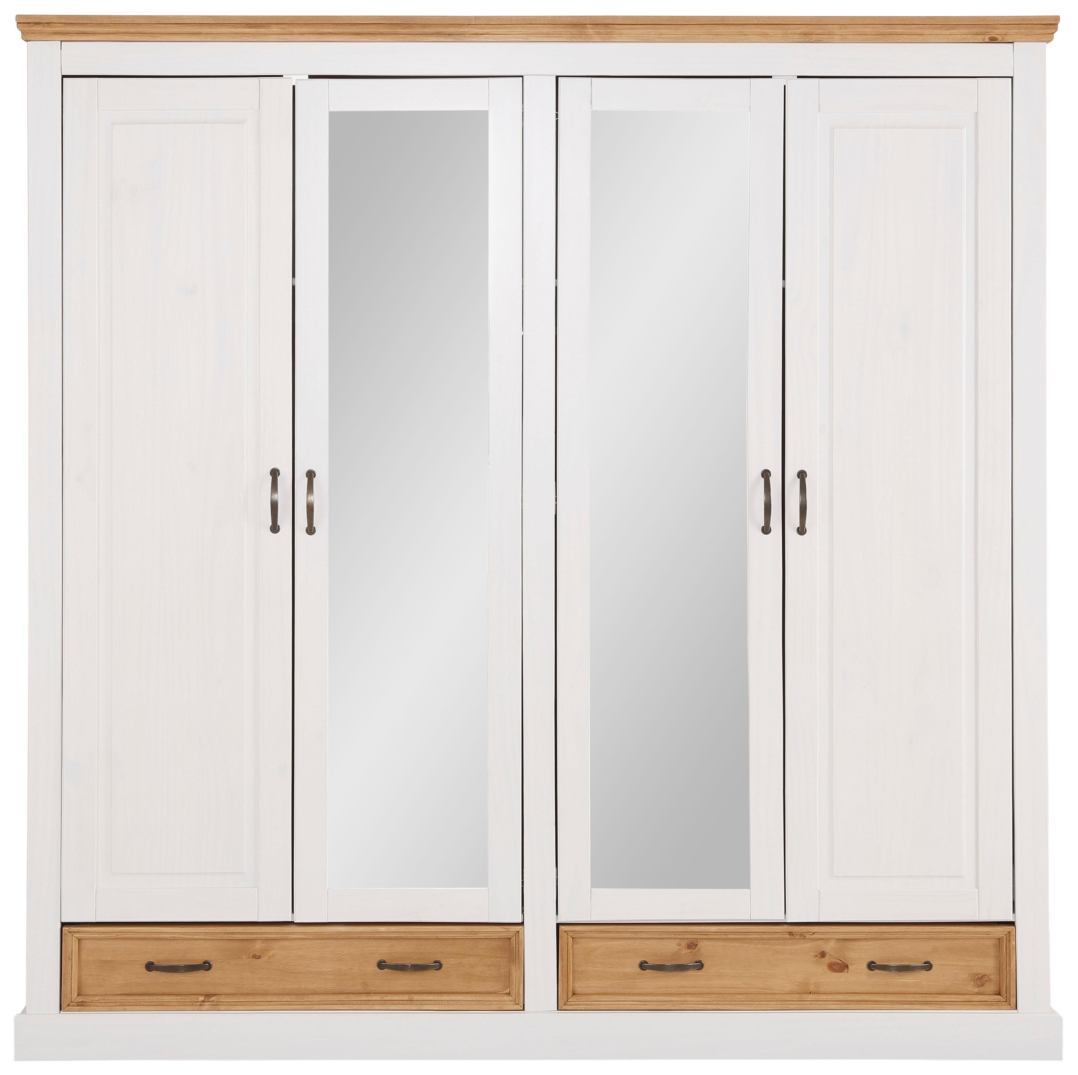 Home Affaire 4-türiger Kleiderschrank »Selma« für das Schlafzimmer, aus massiven Holz, Höhe 190 cm | Schlafzimmer > Kleiderschränke > Drehtürenschränke | Home affaire