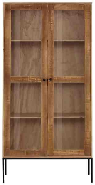 Home Affaire Vitrine »Freya«, mit 2 Glastüren und quadratische Röhrenbeine, aus Massivholz, Breite 180 cm