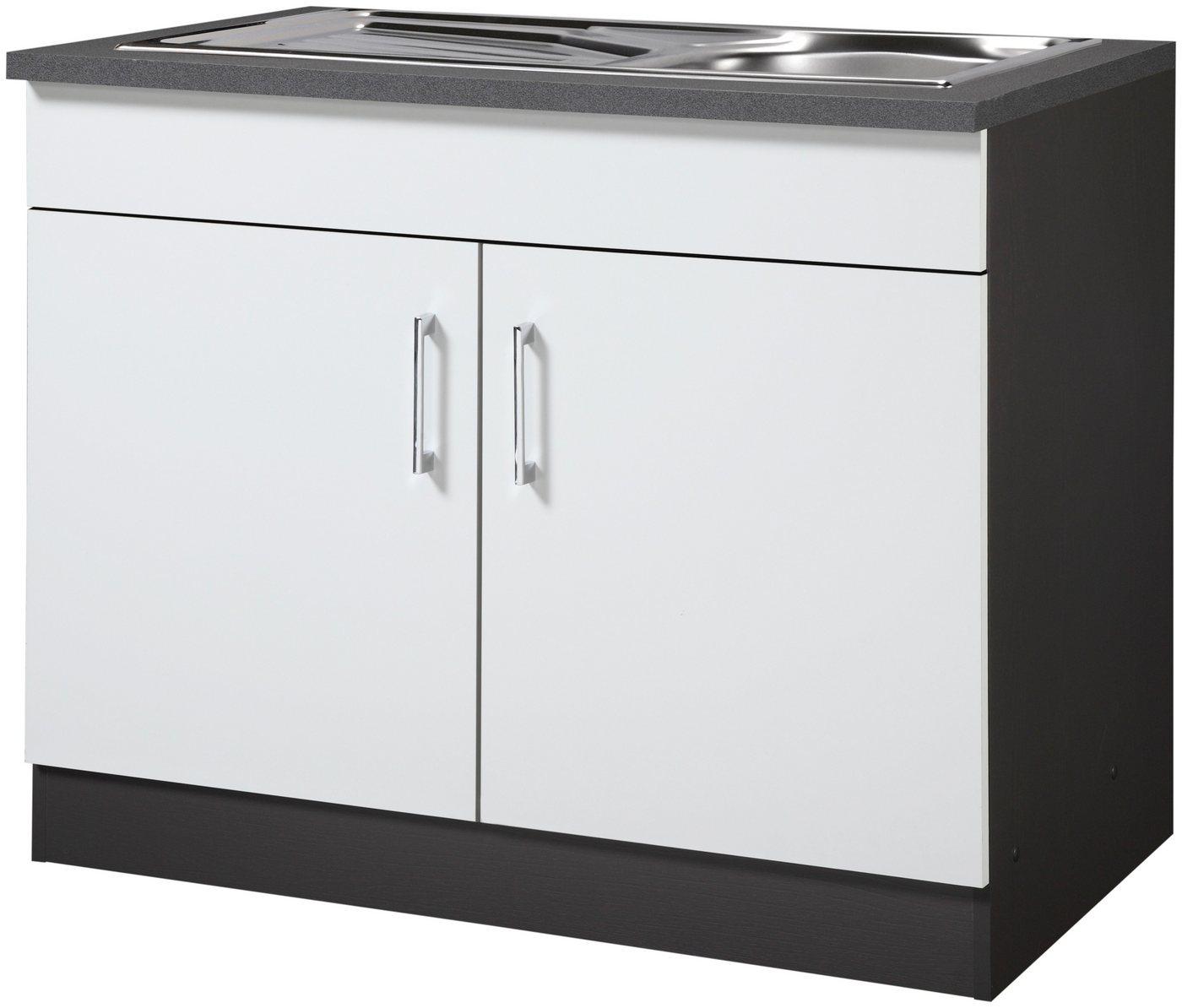 HELD MÖBEL Spülenschrank »Paris«, Breite 100 cm | Küche und Esszimmer > Küchenschränke > Spülenschränke | Weiß | Holzwerkstoff | HELD MÖBEL