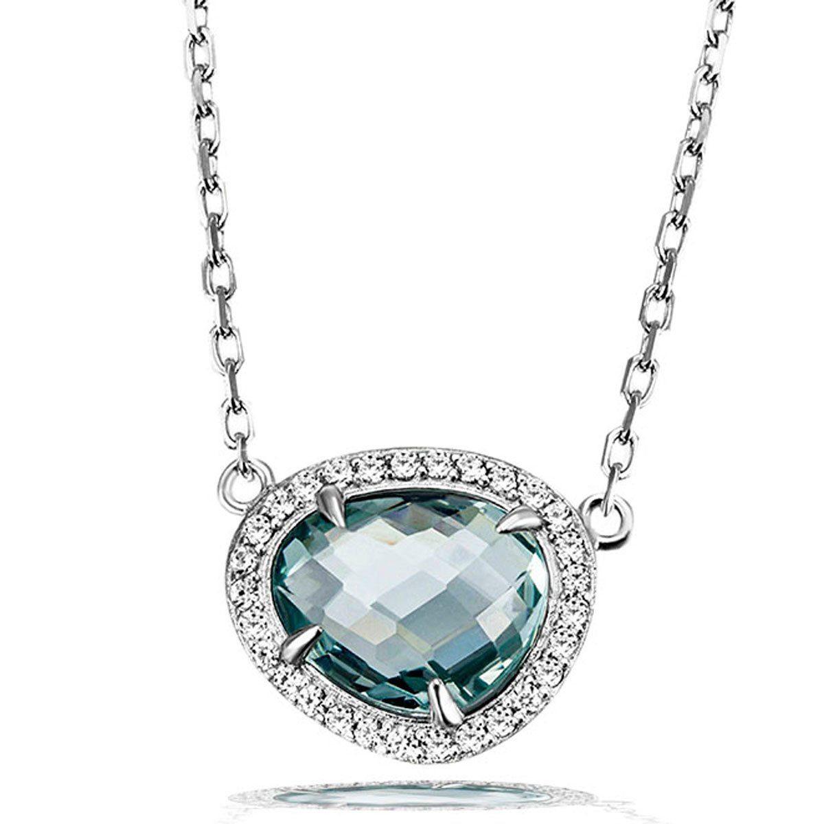 goldmaid Damencollier 925 Silber Glasstein blau mit Zirkonia