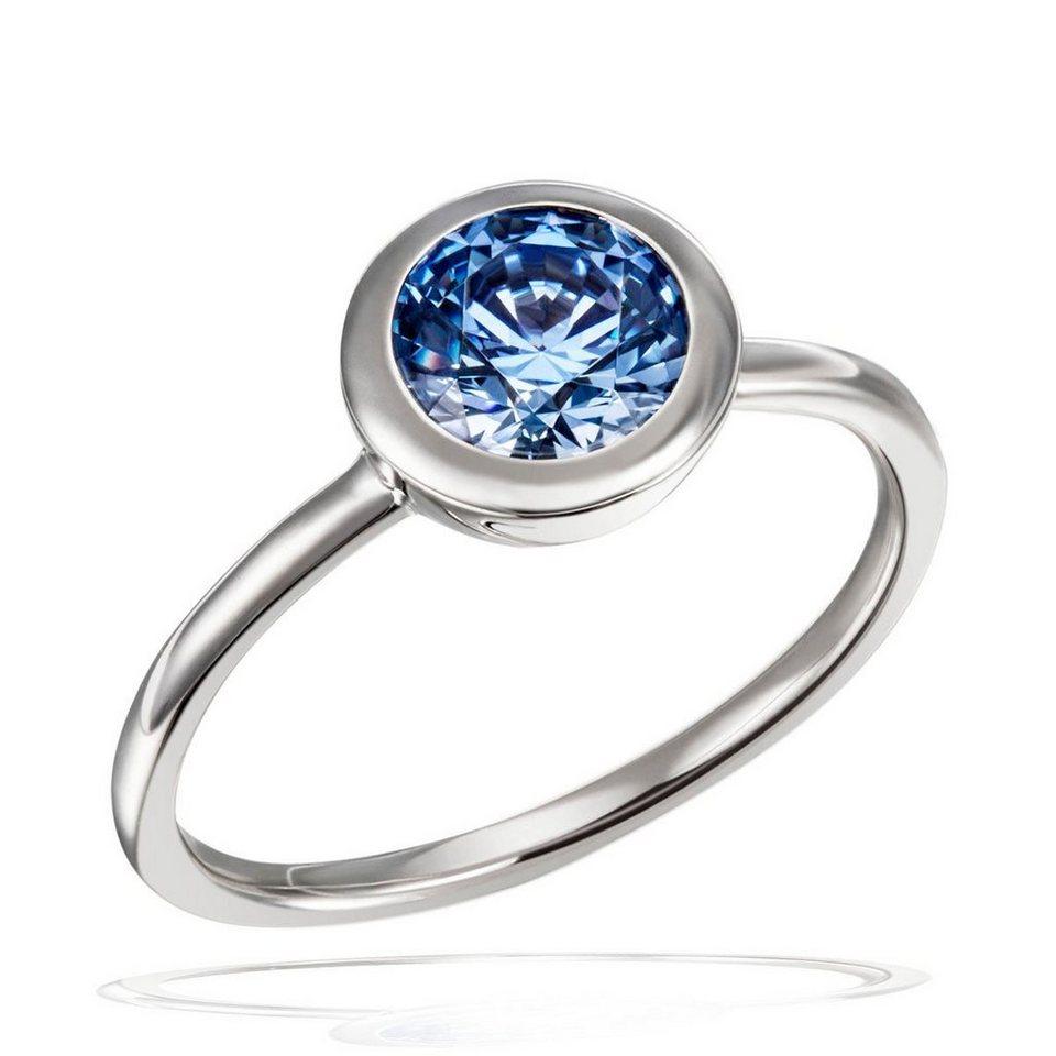 Ring Damen Topas Blauer Zirkonia in Silber Gefasst 6 Steine in Brillantschliff
