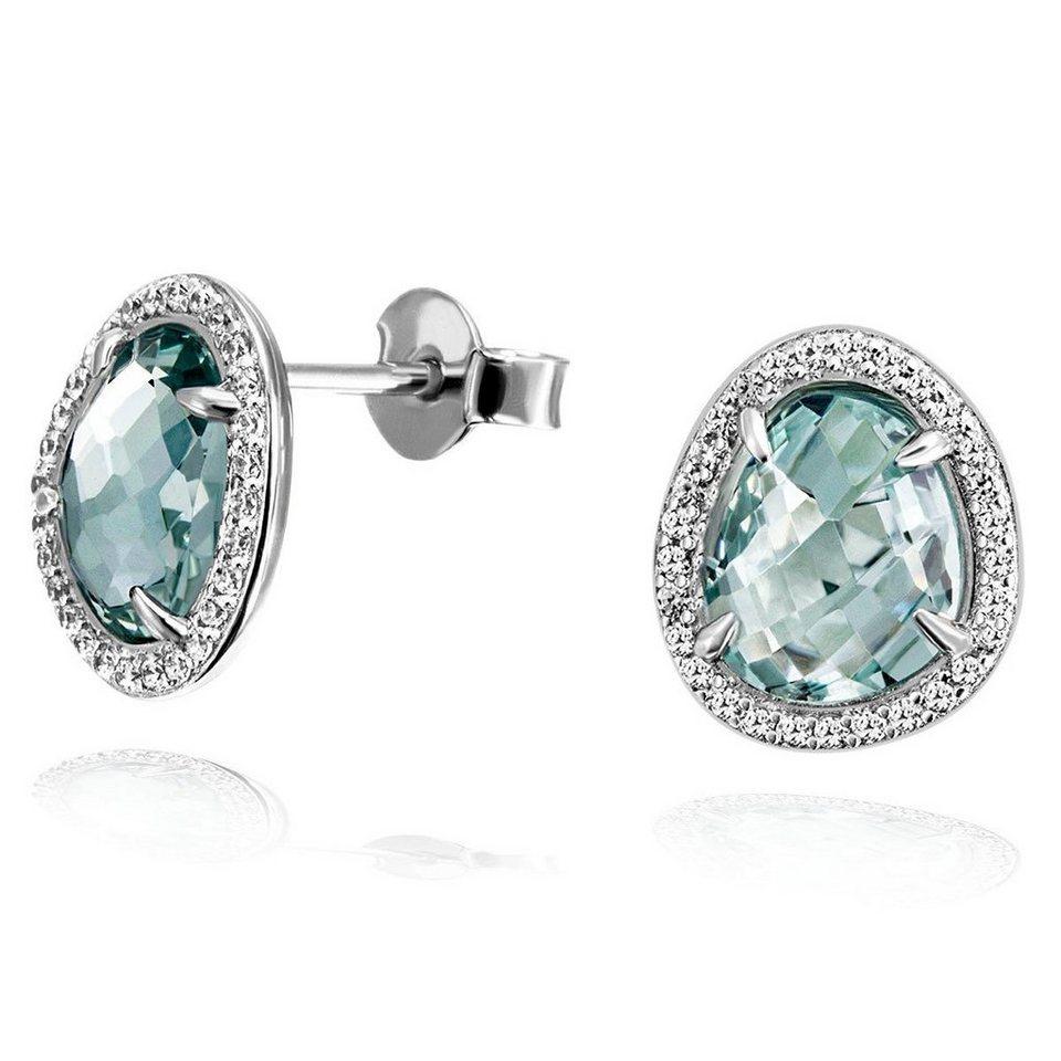 49978ab32e8b goldmaid Paar Ohrstecker 925 Silber Glasstein blau mit Zirkonia ...