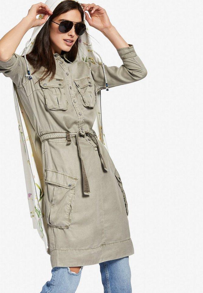 khujo blusenkleid jaqueline mit gro en pattentaschen online kaufen otto. Black Bedroom Furniture Sets. Home Design Ideas