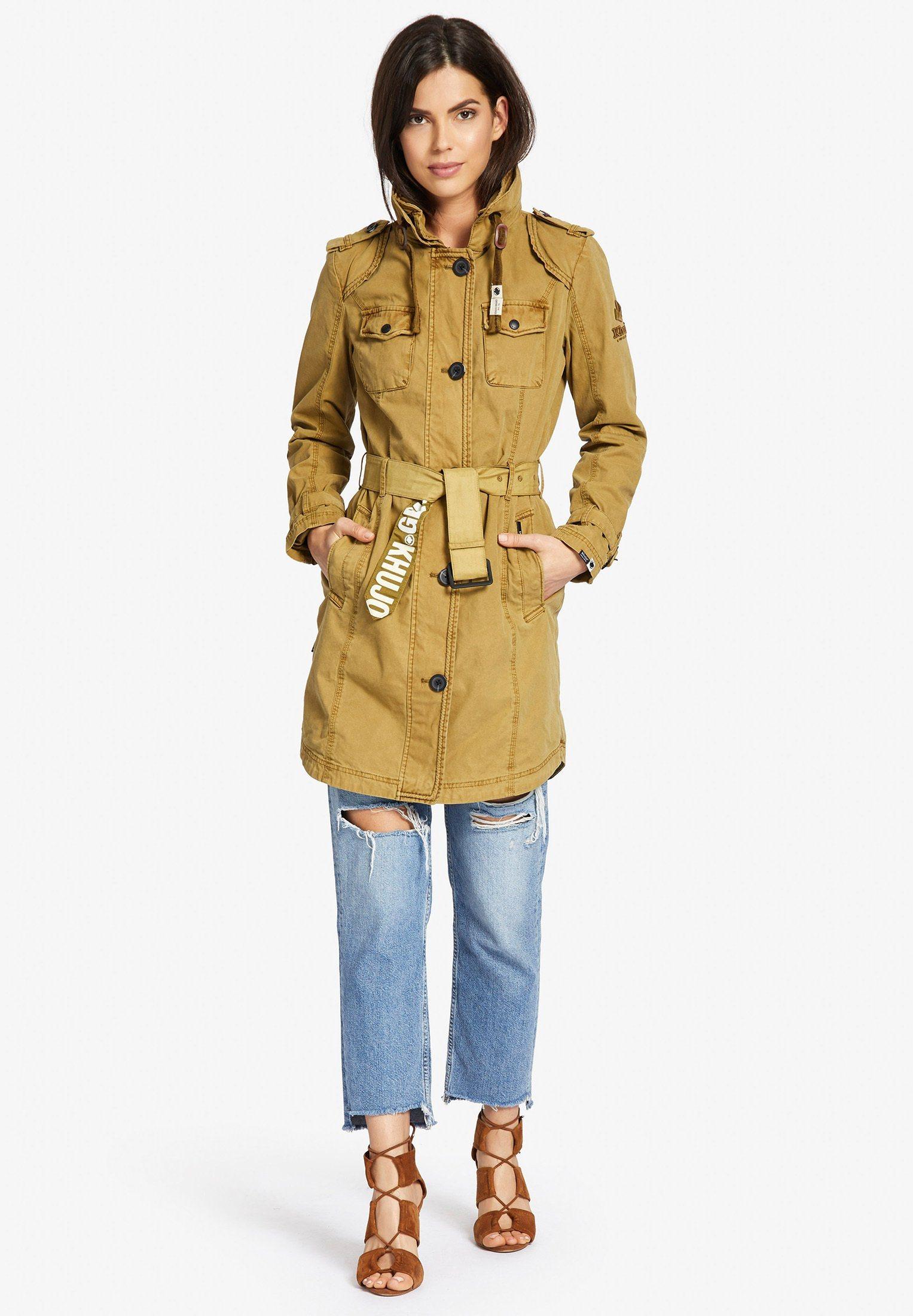 khujo Trenchcoat »MENNA« mit verstaubarer Kapuze im Kragen | Bekleidung > Mäntel > Trenchcoats | Gelb | khujo