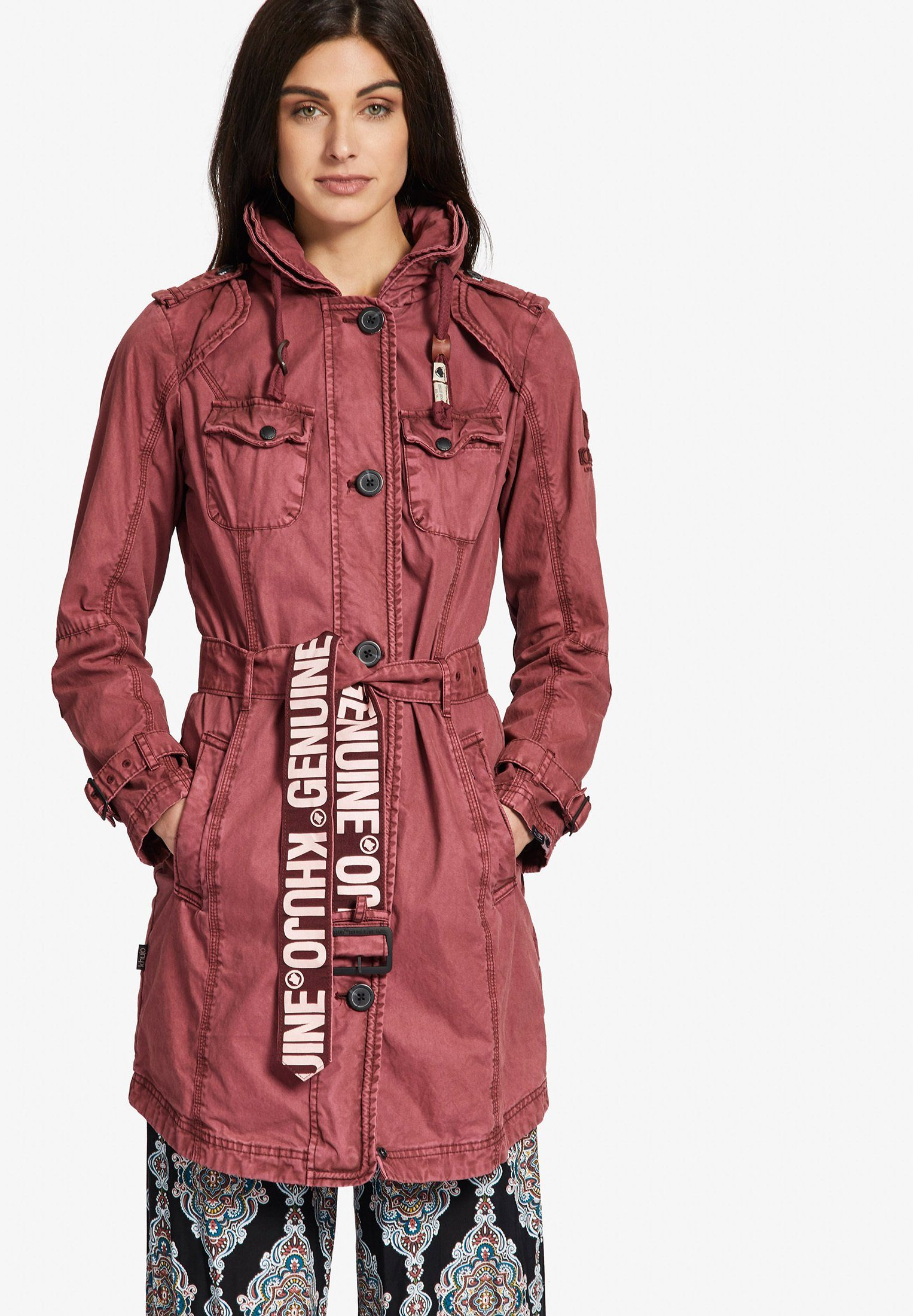 Trenchcoat%2c mit abnehmbarer Kapuze%2c rot%2c rot In Linea