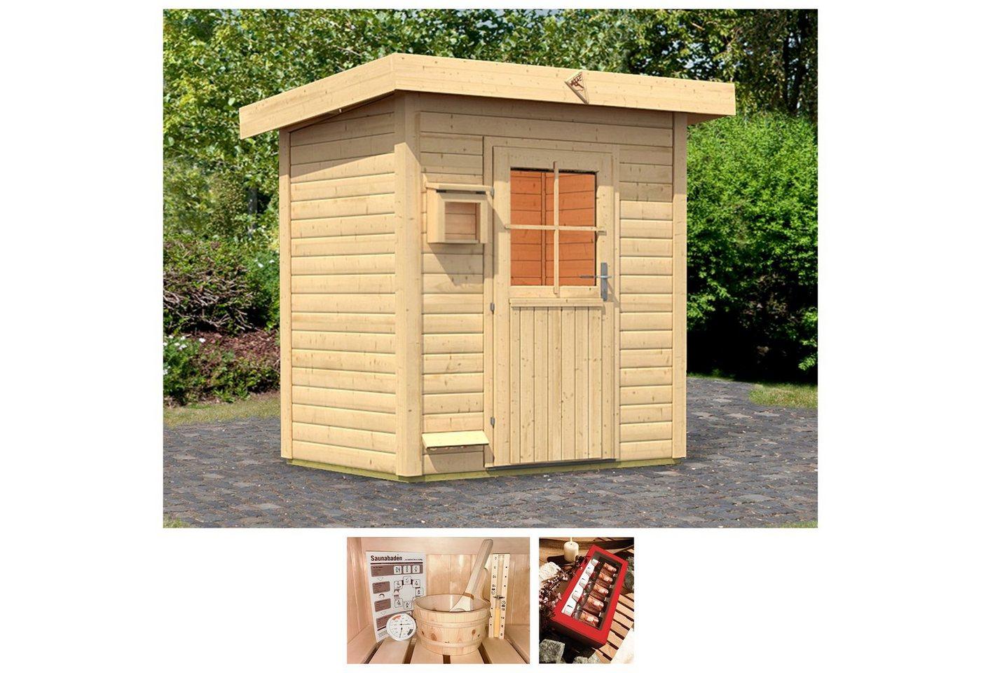 KARIBU Saunahaus »Wim«, 196x146x228 cm, 38 mm, ohne Ofen | Baumarkt > Bad und Sanitär > Sauna und Zubehör | Karibu