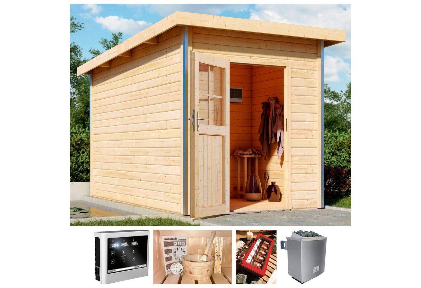KARIBU Saunahaus »Klaas 2«, 196x363x229 cm, 38 mm, 9 kW-Ofen mit ext. Steuerung | Baumarkt > Bad und Sanitär > Sauna und Zubehör | Massivholz | Karibu