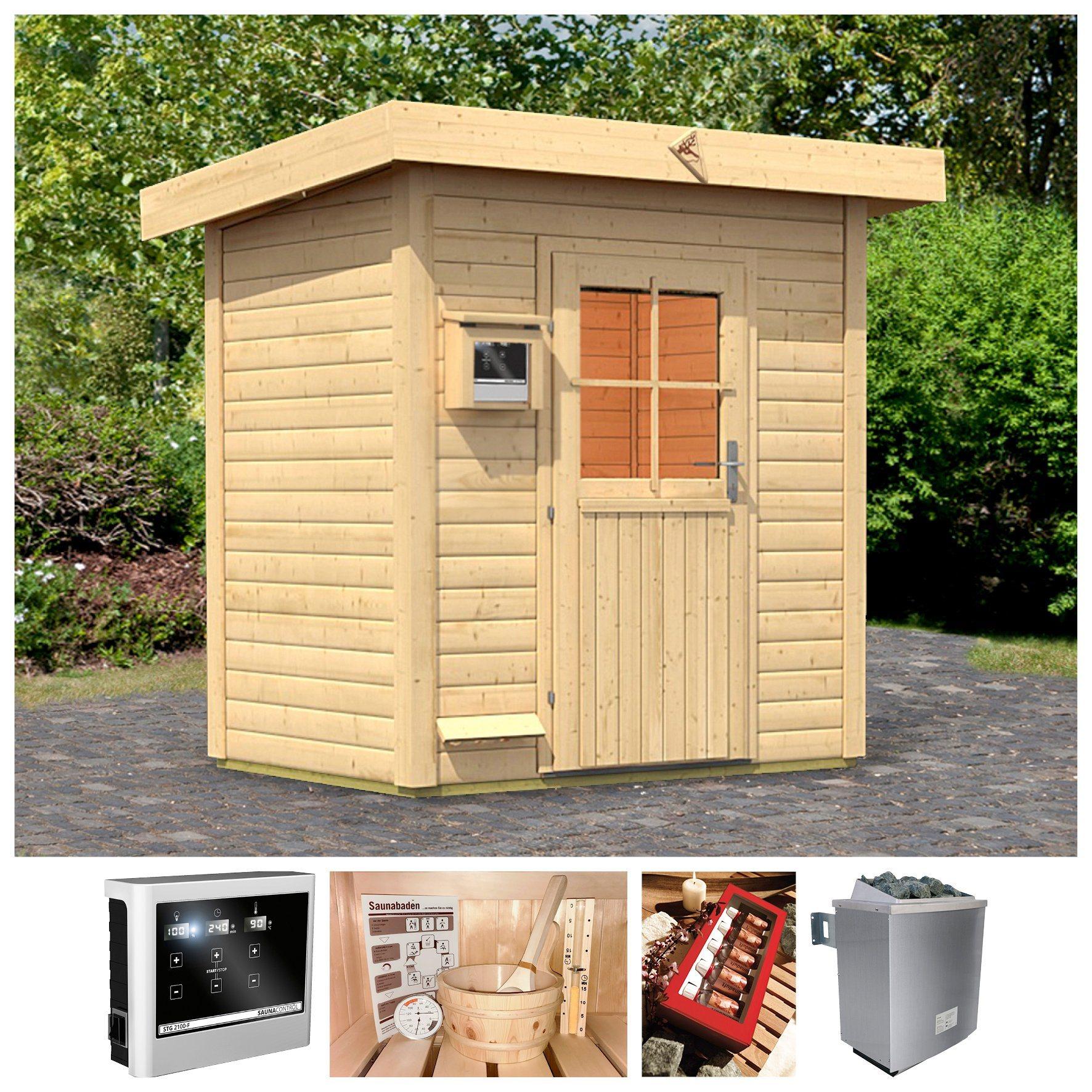 KARIBU Saunahaus »Wim«, 196x146x228 cm, 38 mm, 9 kW-Ofen mit ext. Steuerung | Baumarkt > Bad und Sanitär > Sauna und Zubehör | Karibu