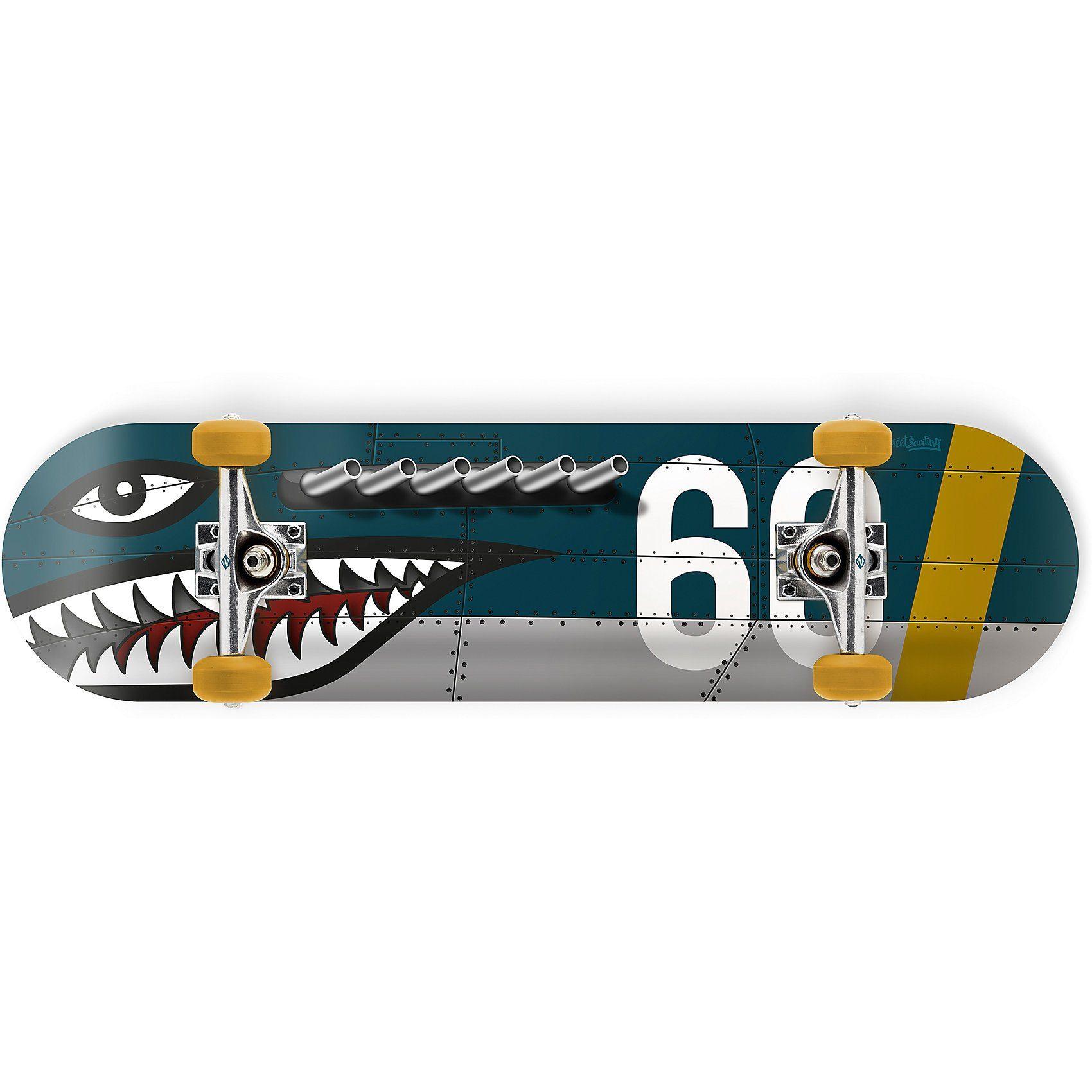Streetsurfing Skateboard 31 Shark Fire, blau
