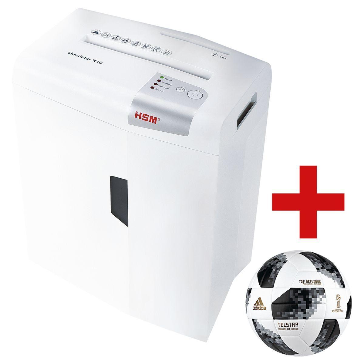 HSM Aktenvernichter inkl. adidas WM-Fußball 2018 »shredstar X10 4,5 x 30 mm« 1 Set