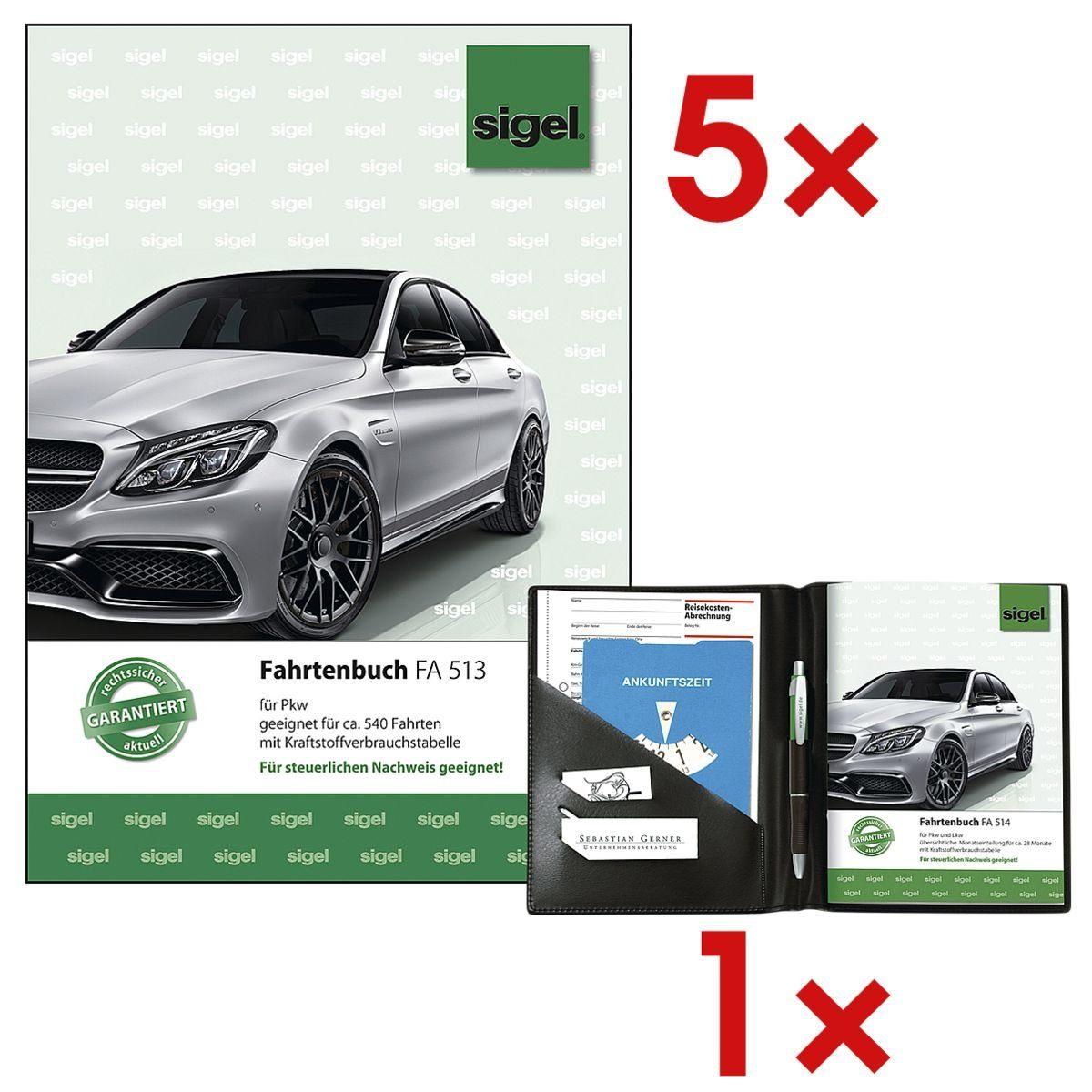 Sigel 5x Fahrtenbuch (A5 hoch) inkl. 1x Formularbuch-Einband »FA513« 1 Set