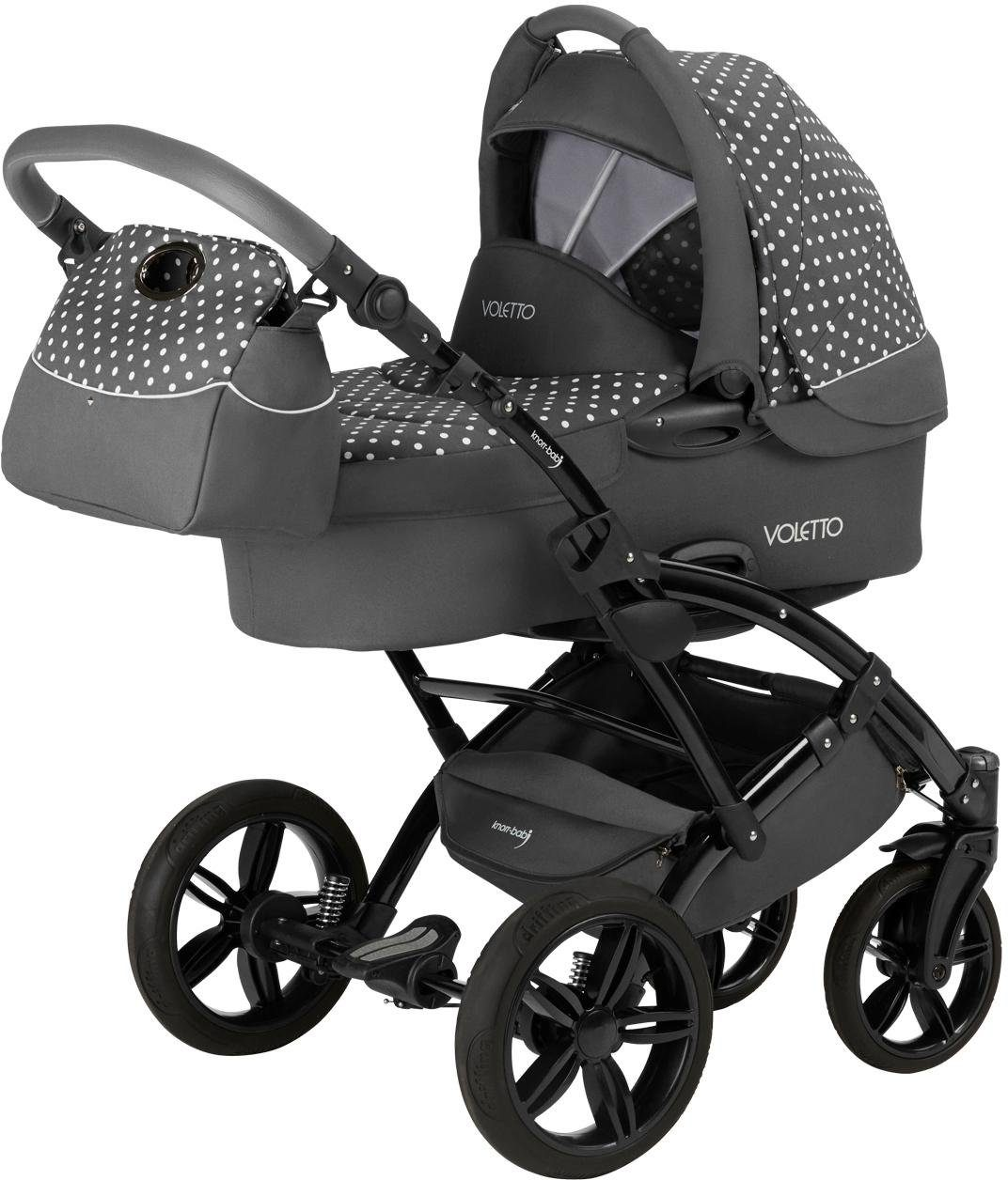 knorr-baby Kombi-Kinderwagen Set inkl. Babyschale, »Voletto, grau-weiß«