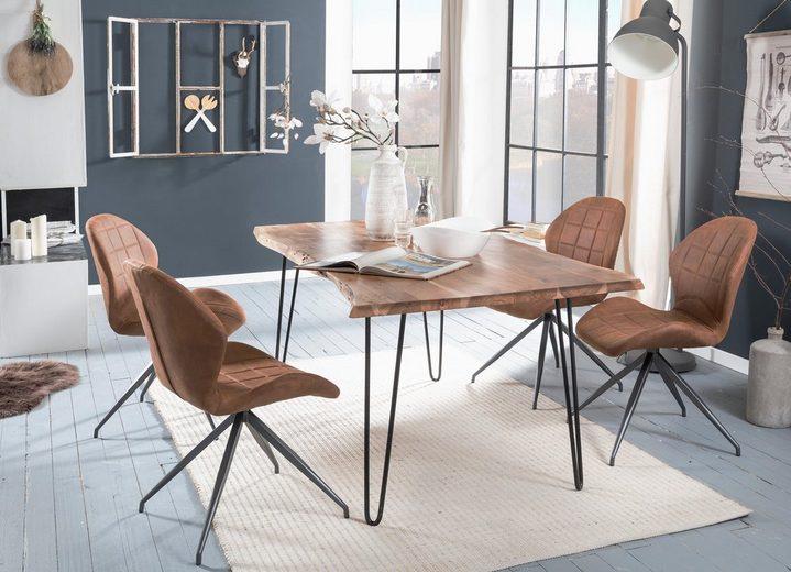 Premium collection by Home affaire Esstisch »Manhattan 2.0«, mit Baumkantenoptik und filigranem Gestell