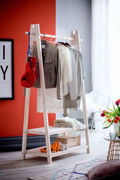 Home affaire Garderobenständer »Ward«, aus massivem weiß lackiertem Fichtenholz, Breite 125 cm