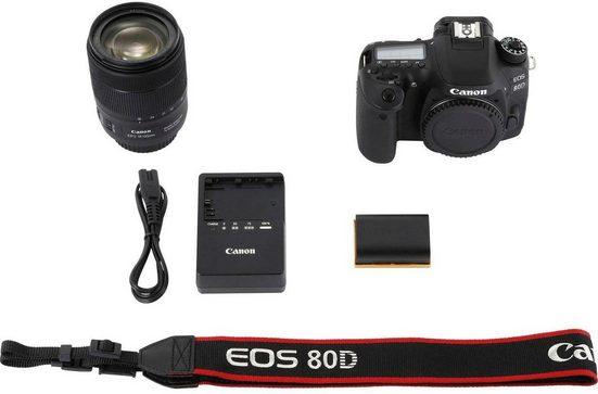 Canon »EOS 80D + 18-135mm IS USM« Spiegelreflexkamera (EF-S 18-135mm 1:3,5-5,6 IS USM, 24,2 MP, NFC, WLAN (Wi-Fi)