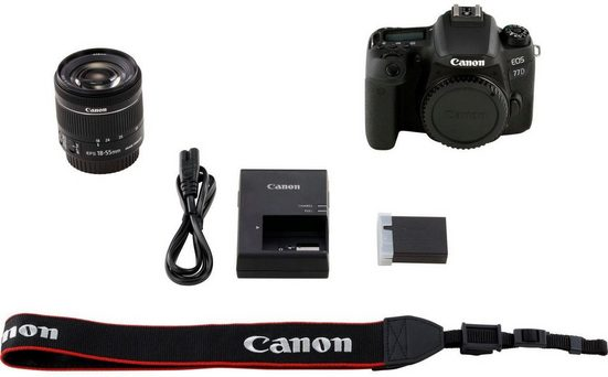 Canon »EOS 77D + EF-S 18-55mm 1:4-5,6 IS STM« Spiegelreflexkamera (EF-S 18-55mm 1:4-5,6 IS STM, 24,2 MP, NFC, WLAN (Wi-Fi), Bluetooth)