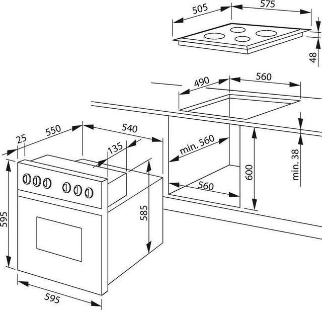 Amica Elektro-Herd-Set EHC 12921 SM, mit Backauszug, SteamClean-Funktion