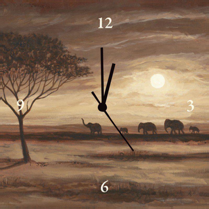 Artland Wanduhr »Andres: Afrika braune Landschaft - Elefanten«
