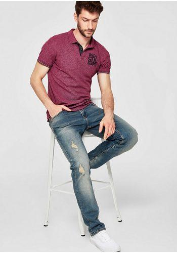 Herren s.Oliver RED LABEL Meliertes Poloshirt mit Print rosa | 04059998656306