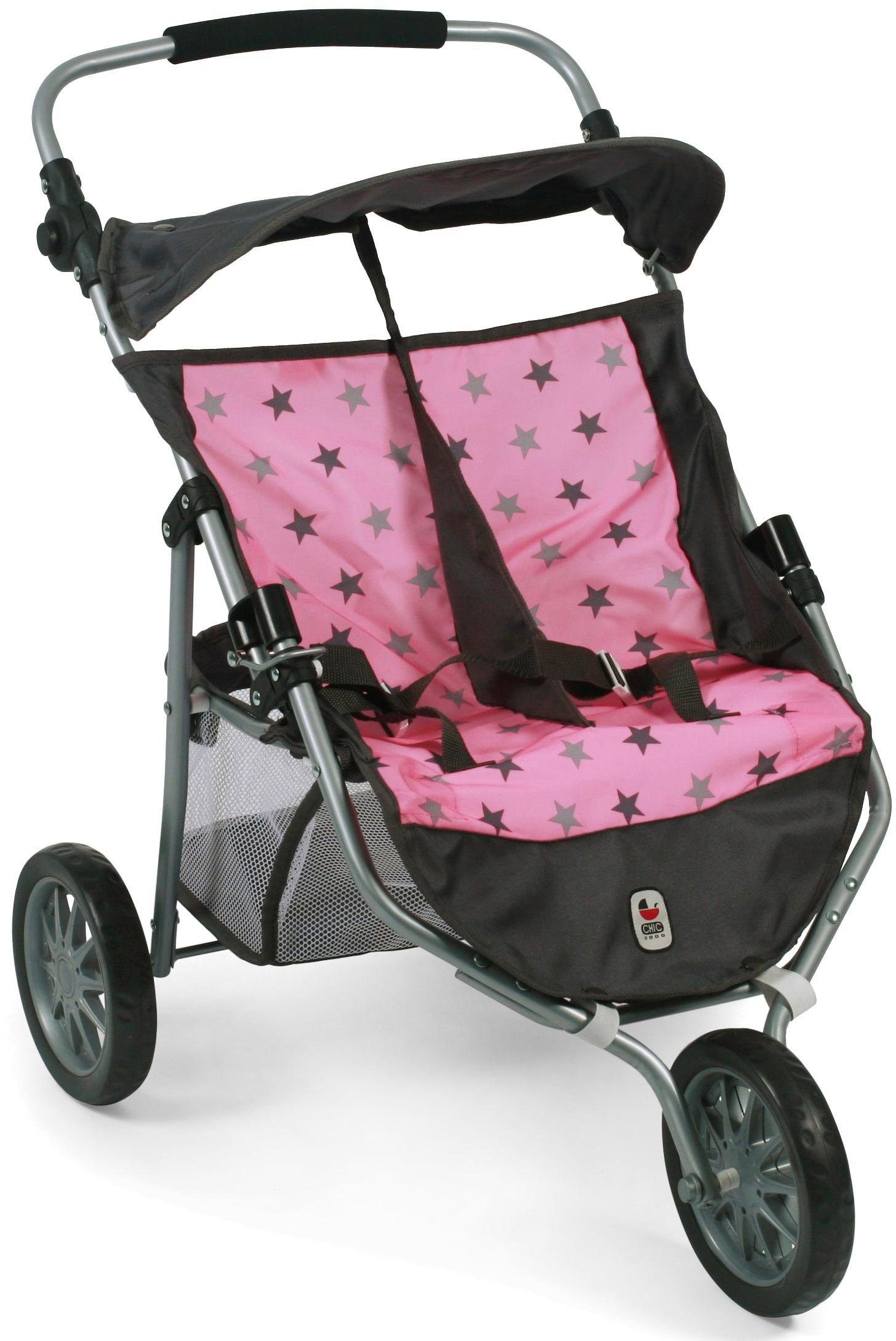 CHIC2000 Puppen-Zwillingsbuggy, »»Zwillings-Jogger, Stars Grey««