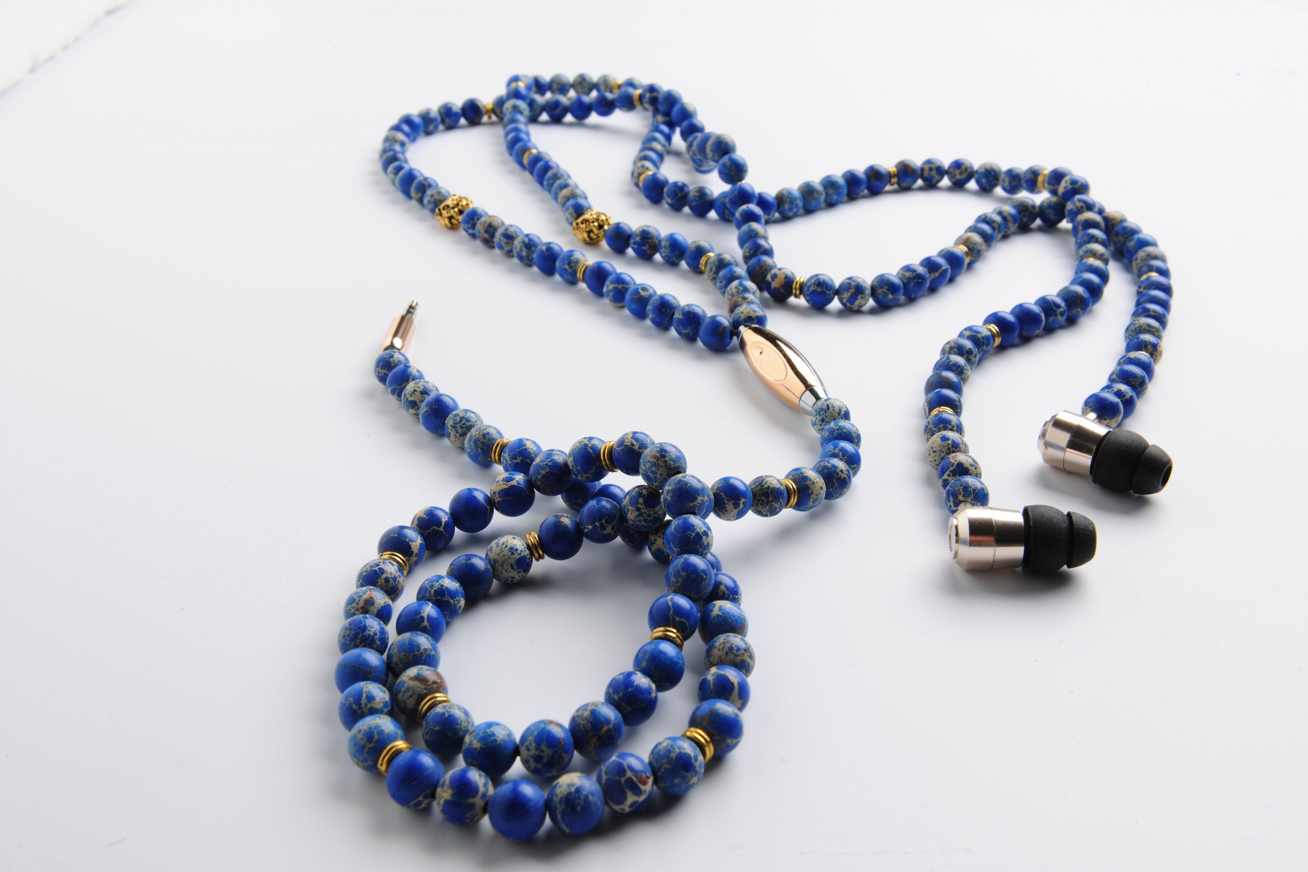 one acoustics Fashion Headset mit Jaspis-Perlenkette