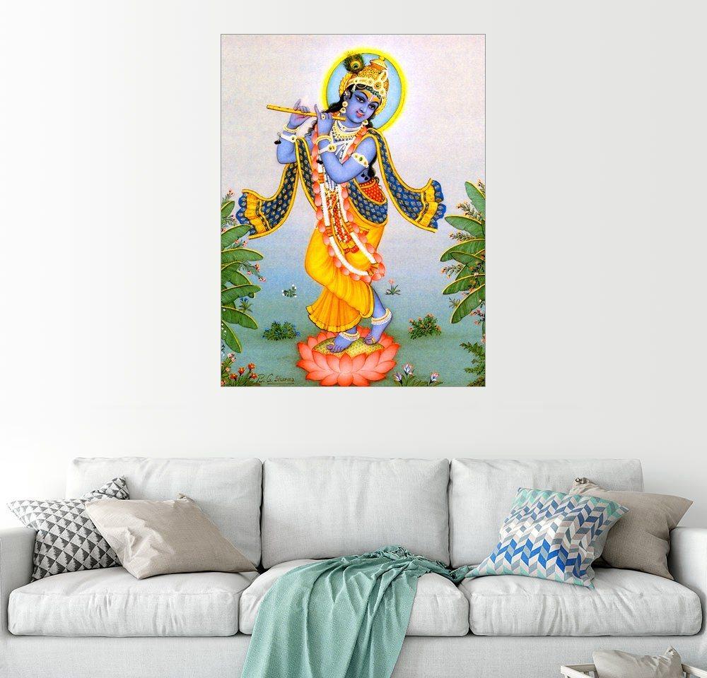 Posterlounge Wandbild »Krishna mit Basuri« | Dekoration > Bilder und Rahmen > Bilder | Holz | Posterlounge