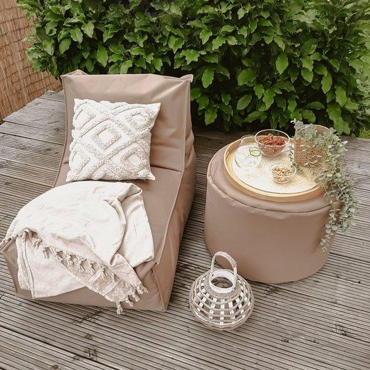 mokebo Sitzsack »Der Sundowner«, Outdoor Bean Bag, kleine Liege & Relaxliege, verschiedene Farben & optional mit Hocker