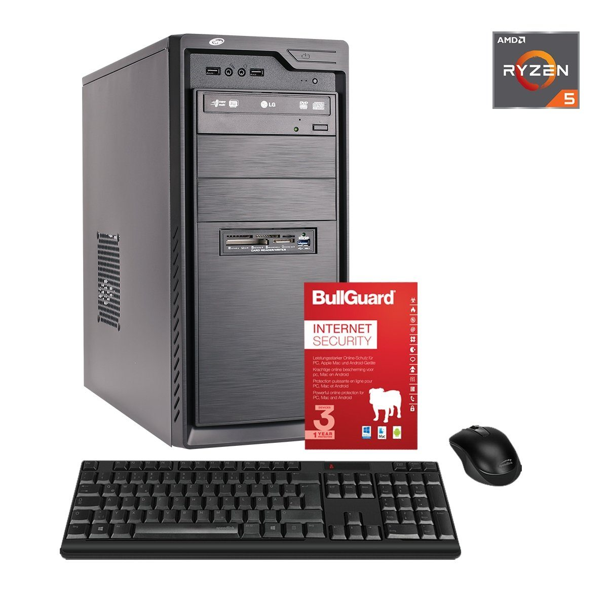 ONE PC, Ryzen 5 2400G, Radeon RX Vega 11 Graphics, 8GB DDR4 RAM »Office PC 44694«