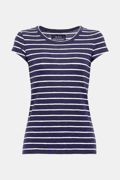 EDC BY ESPRIT Tailiertes Streifen-Shirt aus Baumwoll-Stretch