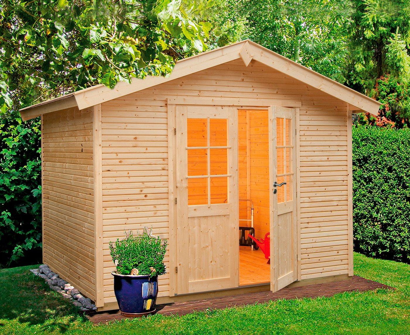 WOLFF FINNHAUS Gartenhaus »Klassik 2424 Softline«, BxT: 269x273 cm, inkl. Fußboden | Garten > Bodenbeläge-Garten | Wolff