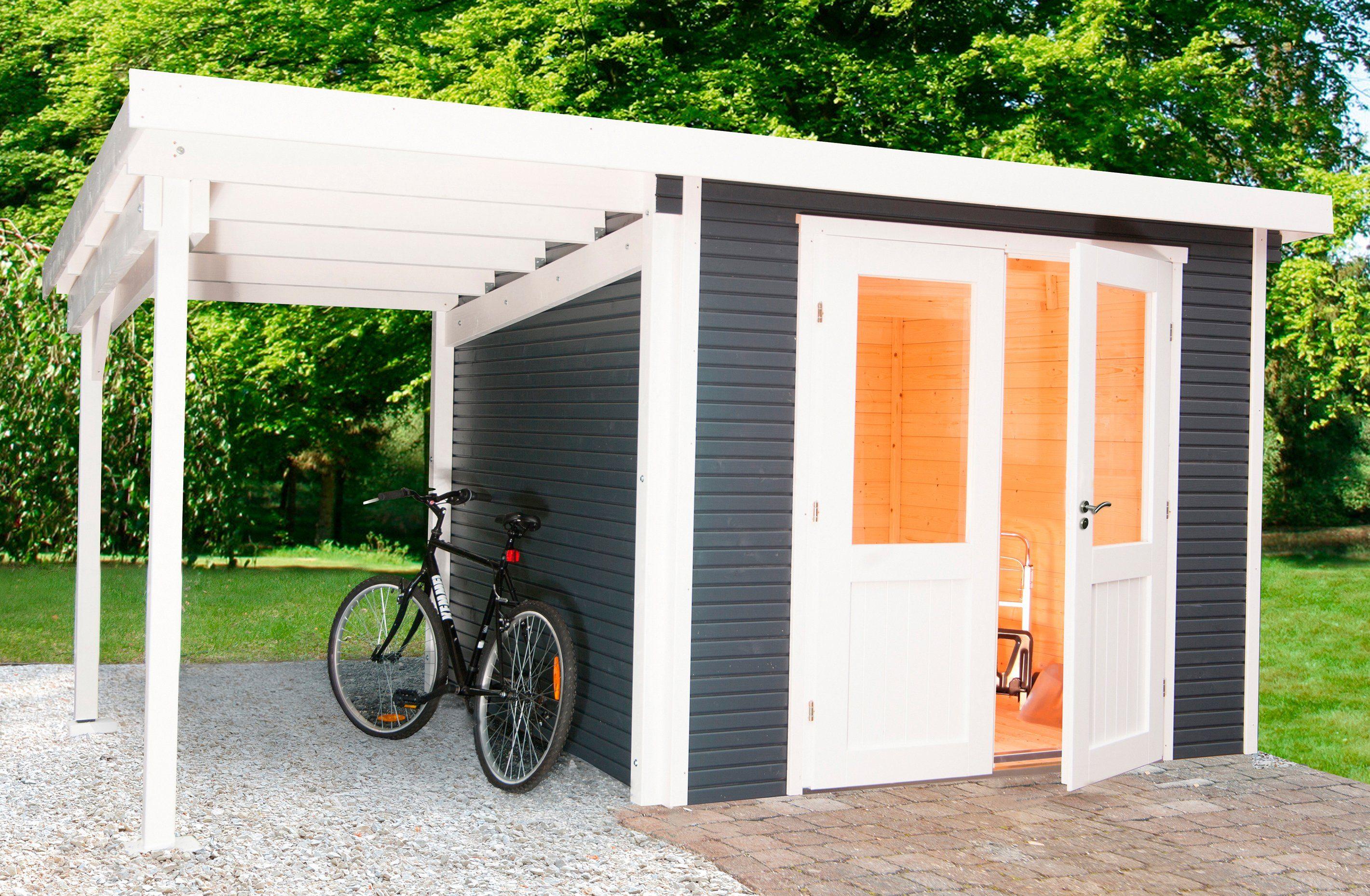 WOLFF Set: Gartenhaus »Pulti Softline 3024«, BxT: 467x286 cm, mit seitlichem Anbau, anthrazit