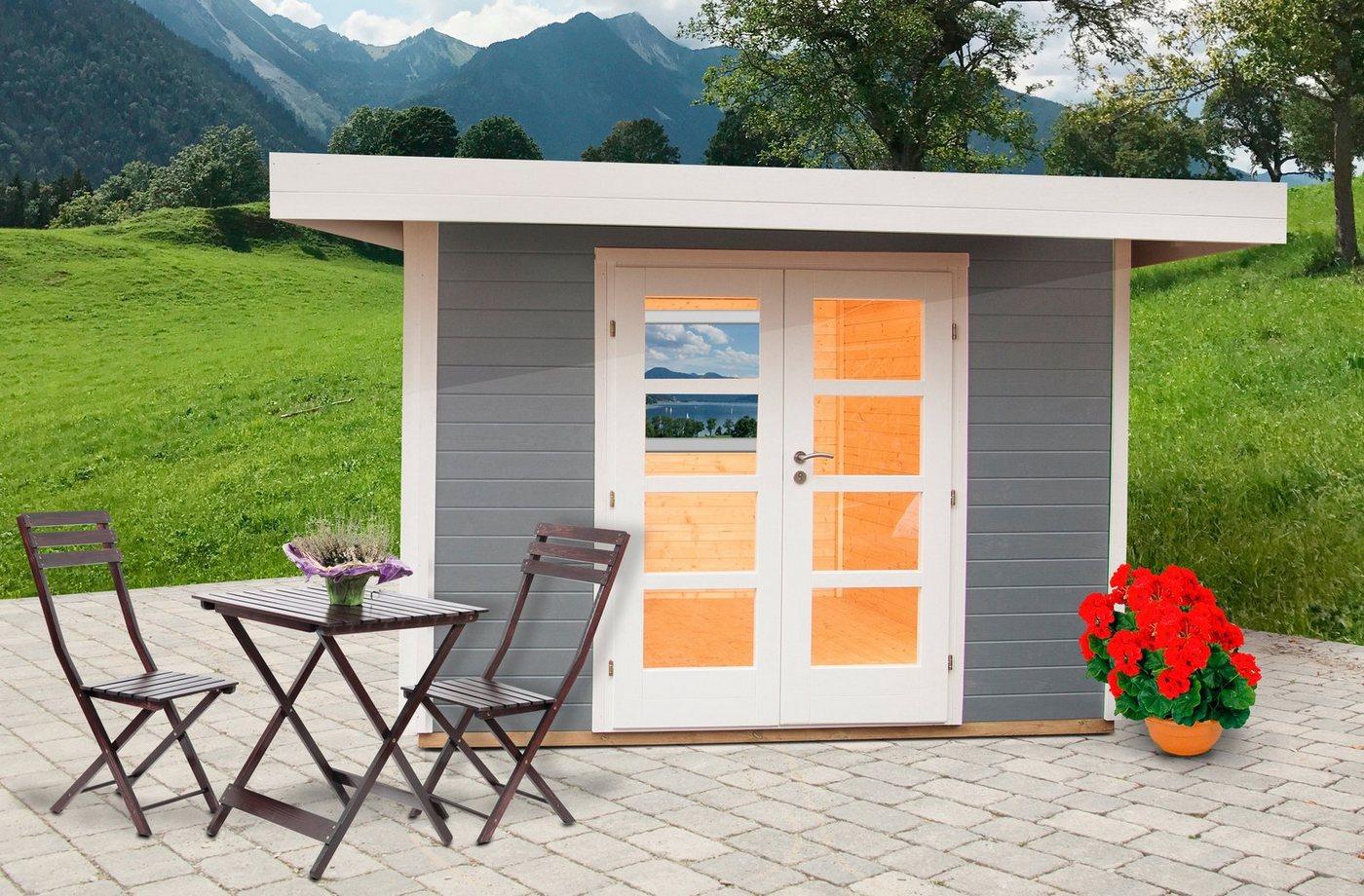 WOLFF FINNHAUS Gartenhaus »Relax Lounge C«, BxT: 356x375 cm, inkl. Fußboden | Garten > Bodenbeläge-Garten | Grau | Wolff