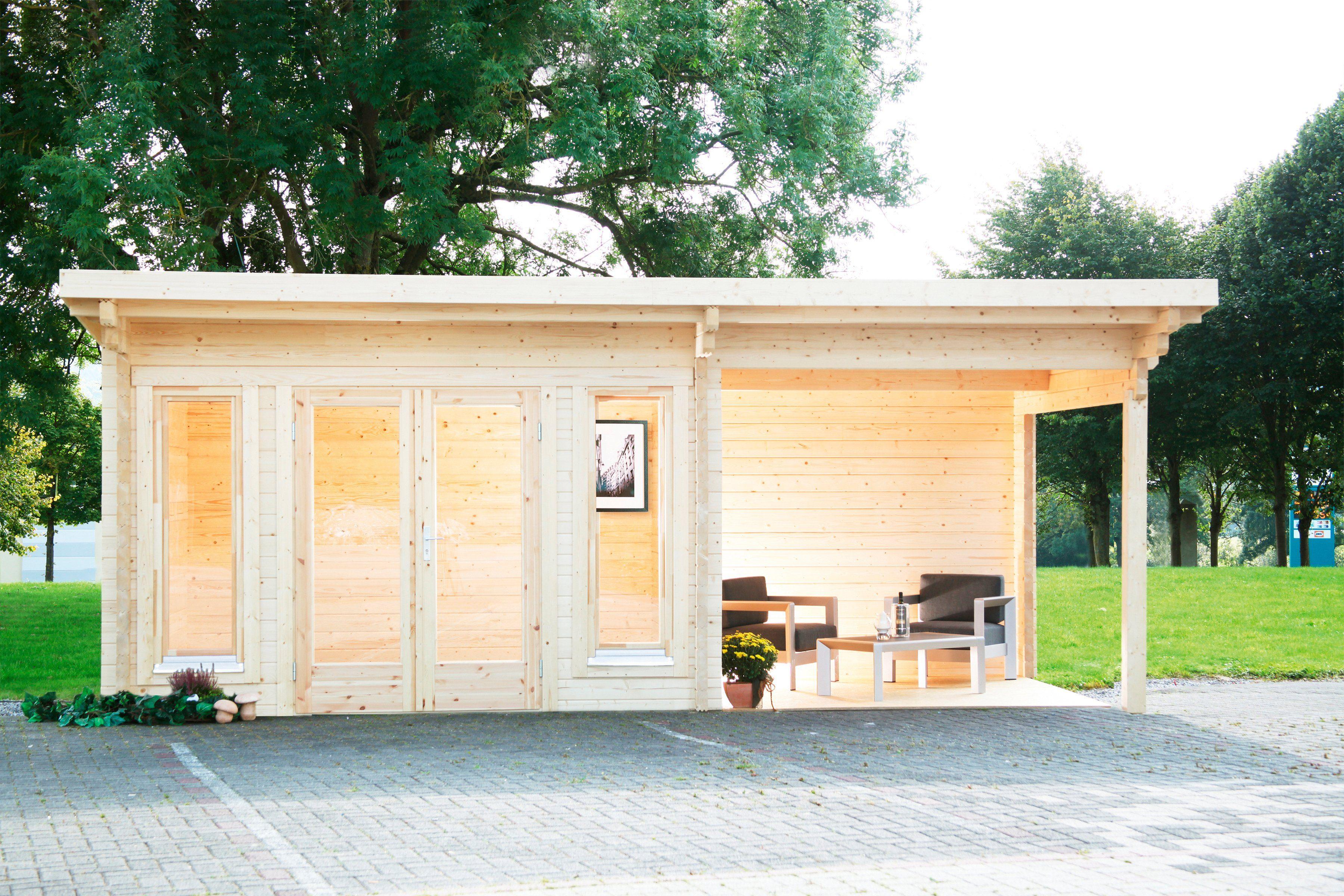 WOLFF Set: Gartenhaus »Trondheim 70-D XL«, BxT: 870x450 cm, Fußboden, Anbaudach mit Rückwand rechts