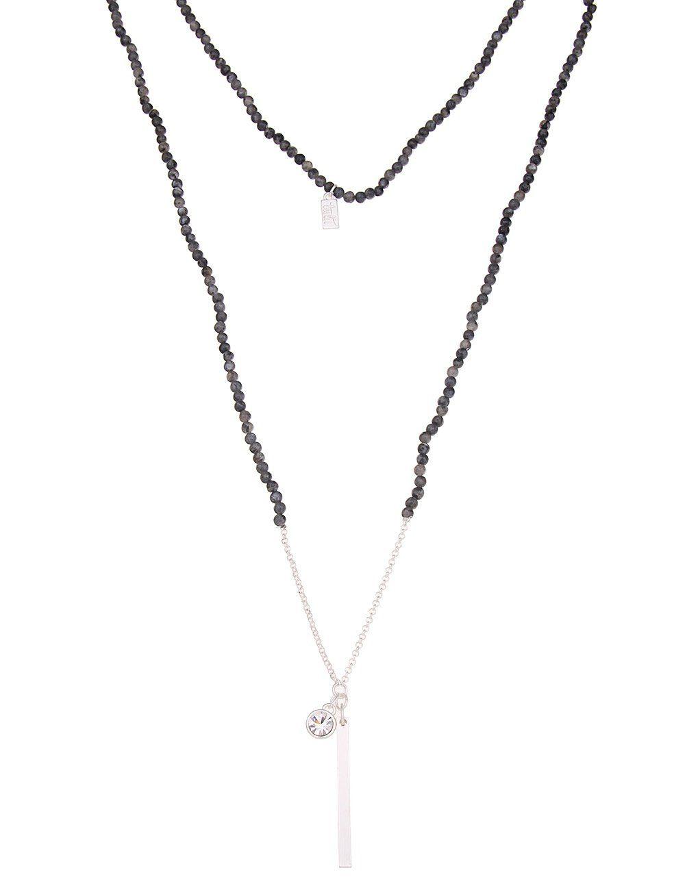 Leslii Halskette mit Stein- und Stab-Anhänger