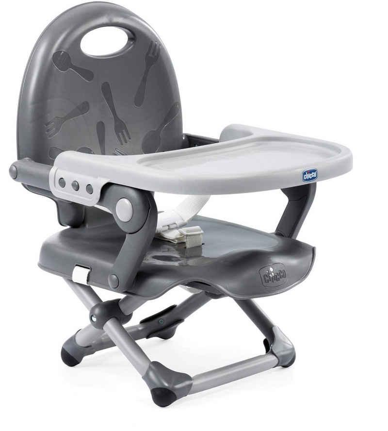 Chicco Tischsitz »Pocket Snack, Dark Grey«, Sitzerhöhung mit Essbrett