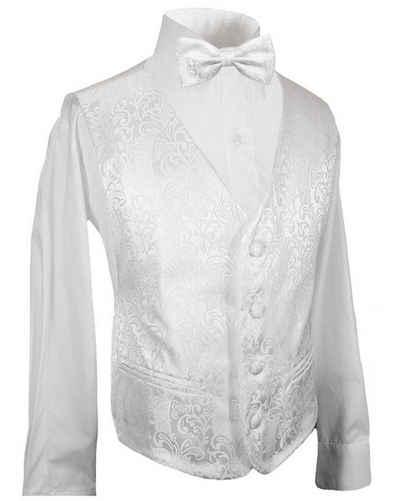 Paul Malone Anzugweste »Festliche Kinderweste Jungenweste Kinder Anzug Weste« (Set, 3-tlg., mit Weste, Hemd und Fliege) weiß KV43-Fliege