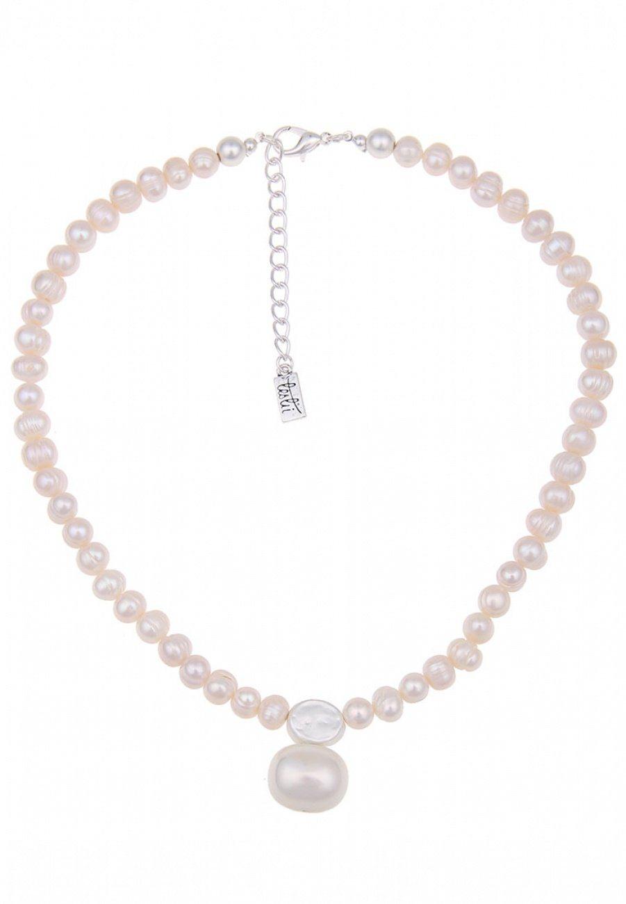 Leslii Halskette mit mattiertem Perlenanhänger | Schmuck > Halsketten > Ketten mit Anhänger | Weiß | leslii