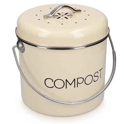 Navaris Mülleimer, Komposteimer Abfalleimer für Biomüll - 3l Eimer Behälter für Müll - Bioabfallbehälter mit Schwenkgriff - inkl. 3 Kohlefilter