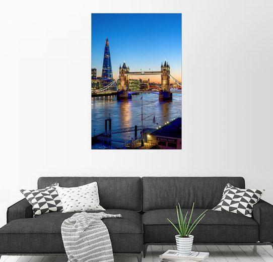 Posterlounge Wandbild - Charles Bowman »Die Tower Bridge in der Abenddämmerung«
