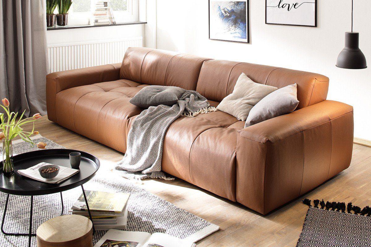 Kasper-Wohndesign Sofa 3-Sitzer Leder brandy »PALACE«