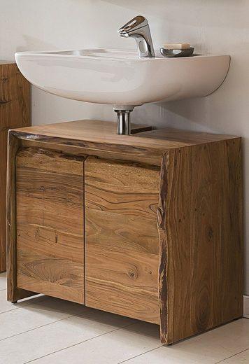 Kasper-Wohndesign Badezimmer Waschbecken-Unterschrank Akazie Massiv-Holz »Live Edge«