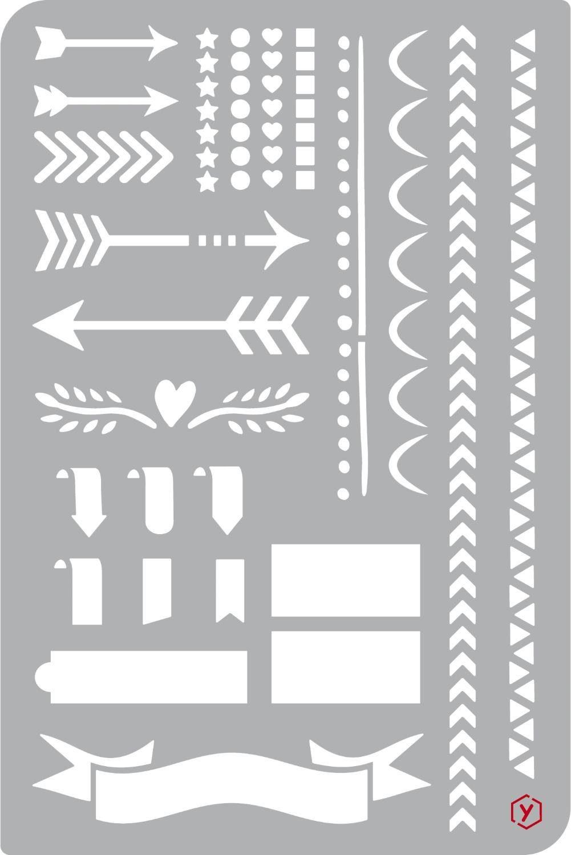 """Schablone """"Bullet Journal Pfeile und Borten"""" 18 cm x 12 cm"""