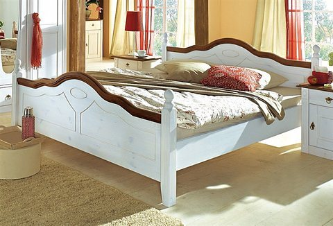 Bett, Premium collection by Home affaire, »Wales« in weiß/nussbaumfarben