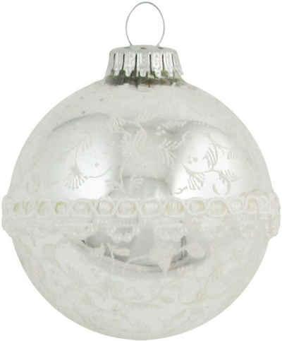 Krebs Glas Lauscha Weihnachtsbaumkugel »CBK20348« (1 Stück), mit hochwertiger Dekoration und Stoffborte