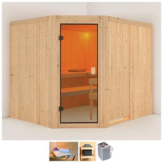 KARIBU Sauna »Horna«, 231x196x198 cm, 9 kW Ofen mit int. Steuerung